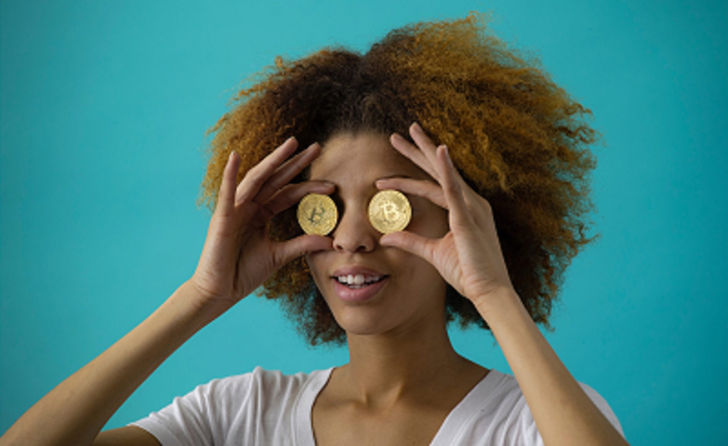 woman with coin eyes